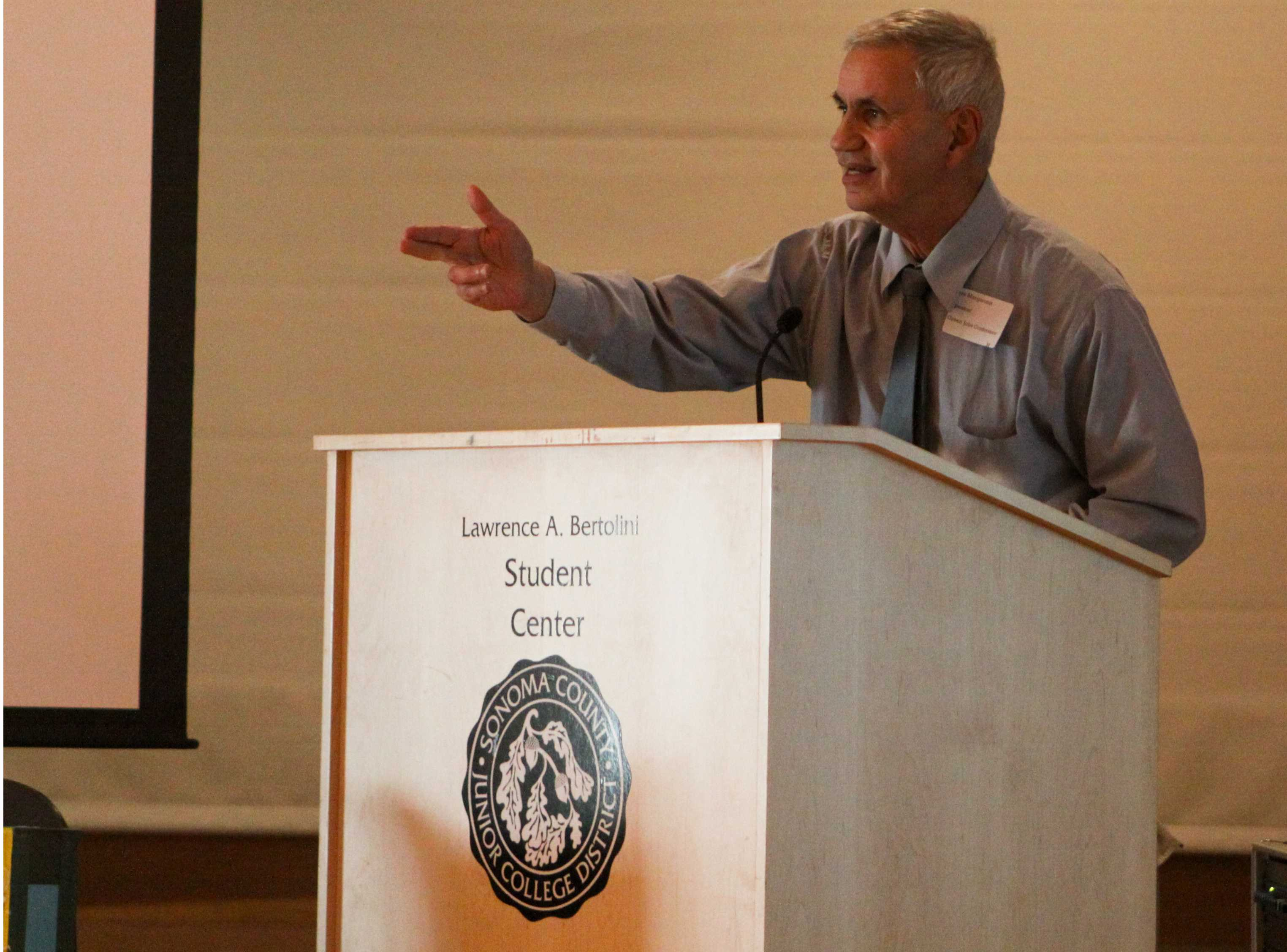 Stas Margaronis spearheads the Green Jobs Conference March 1. Topics included a strategic plan for a zero-emission economy, learning from the history of World War II and the viability of an efficient mass transit system in California.