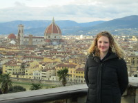 Writer Ellen Thompson at the Piazzale Michelangelo in Florence, Italy.
