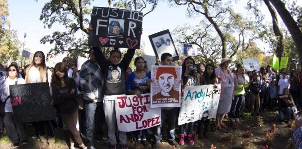 Men, women and children showing their love for Andy Lopez and their protests for his death Oct. 29 at the Sonoma County Sheriff's office.