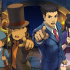 """Professor Layton and Luke Triton (left) team up with Phoenix Wright and Maya Fey (right) to win trials and solve a baffling mystery in """"Professor Layton vs. Phoenix Wright: Ace Attorney"""" for Nintendo 3DS."""