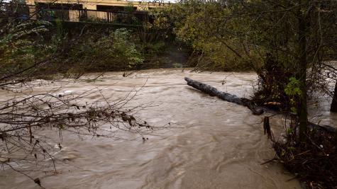 Storm-induced river runs through Santa Rosa Creek