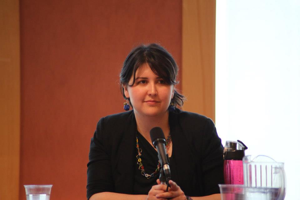 Award-winning ASB President Jessica Jones listens to speakers at a conference.