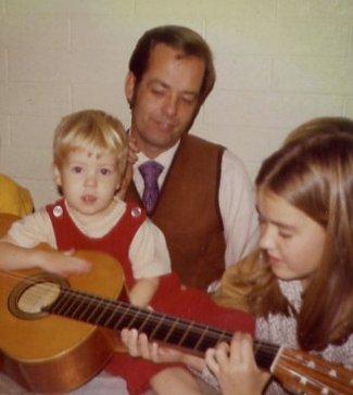Victor W. Jorgensen, Jr. sharing his love of music with son, Erik Jorgensen, and daughter, Cheri Jorgensen Meiners.