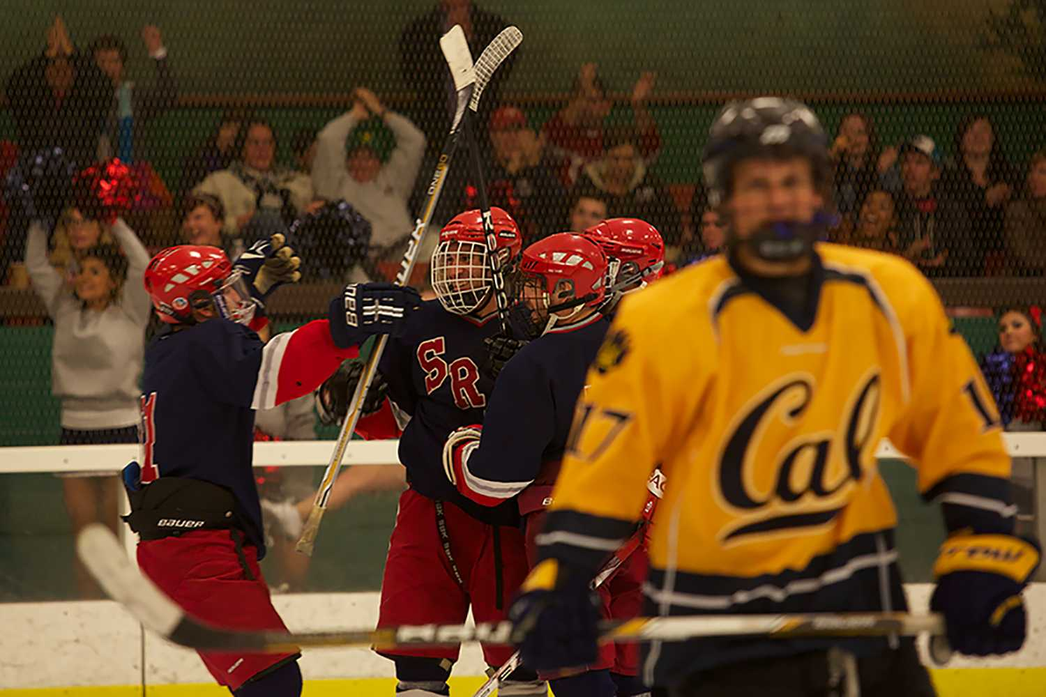 SRJC celebrates a goal after scoring another against Cal Sept 21 at Snoopy's Ice Arena in Santa Rosa.