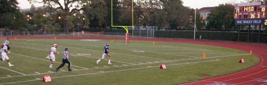 SRJC wide receiver Andre Davis demonstrates proper technique for returning second-half kickoffs.