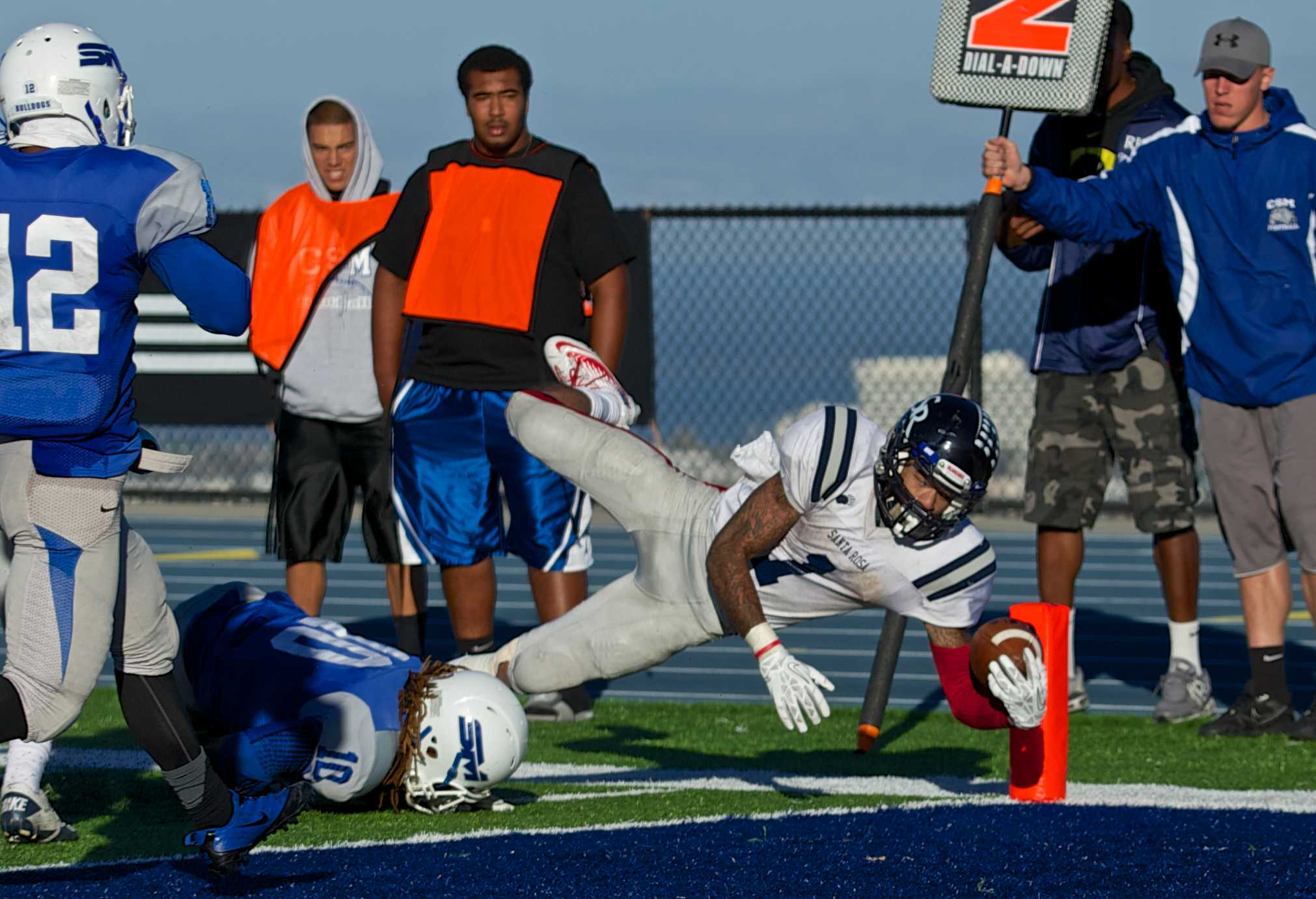 Andre Davis breaks the plane of the end zone scoring a touchdown against College of San Mateo Nov. 16 in San Mateo.