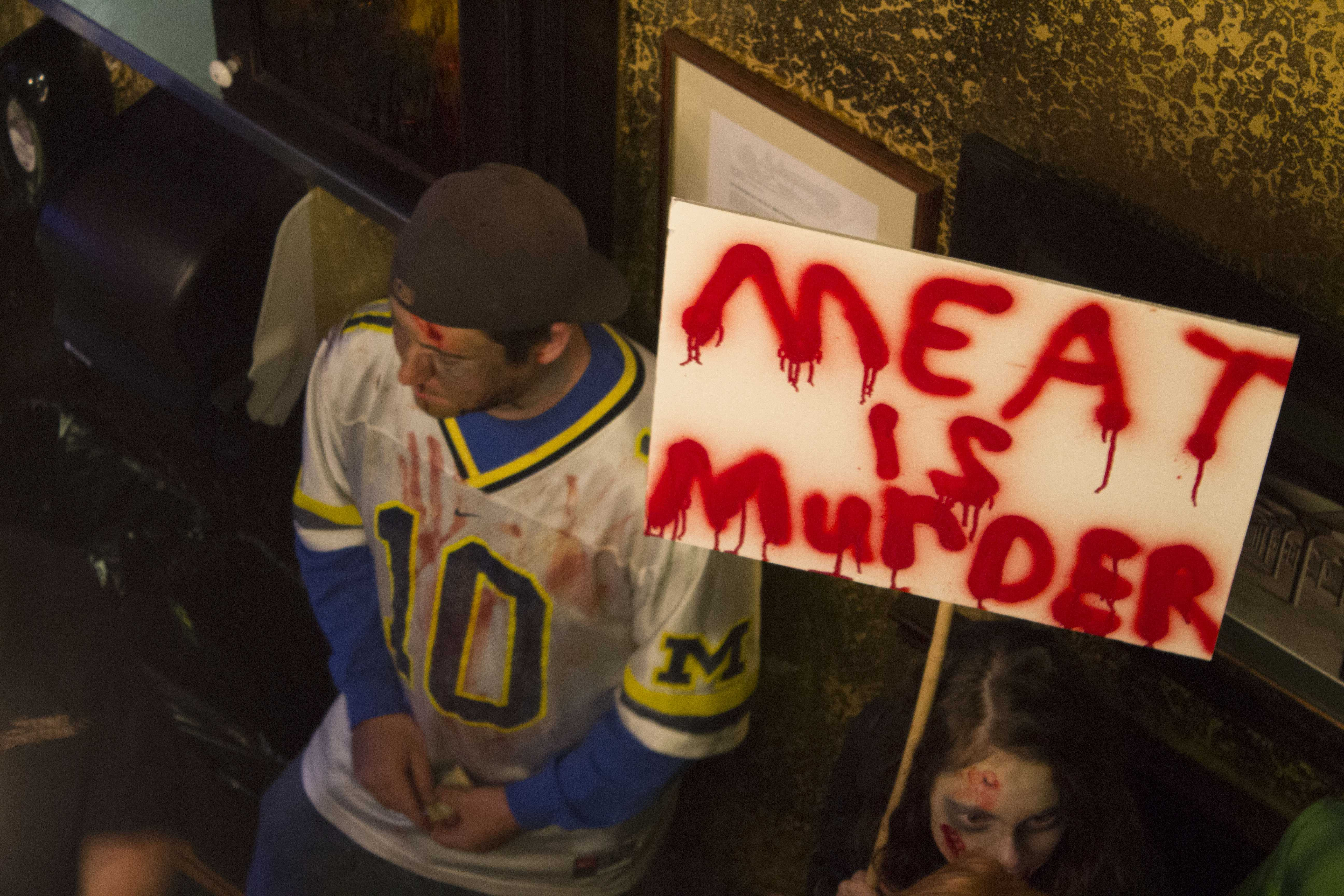 Zombies protest the consumption of meat and support Redwood Empire Food Bank at Stout Brothers Pub Oct. 25.