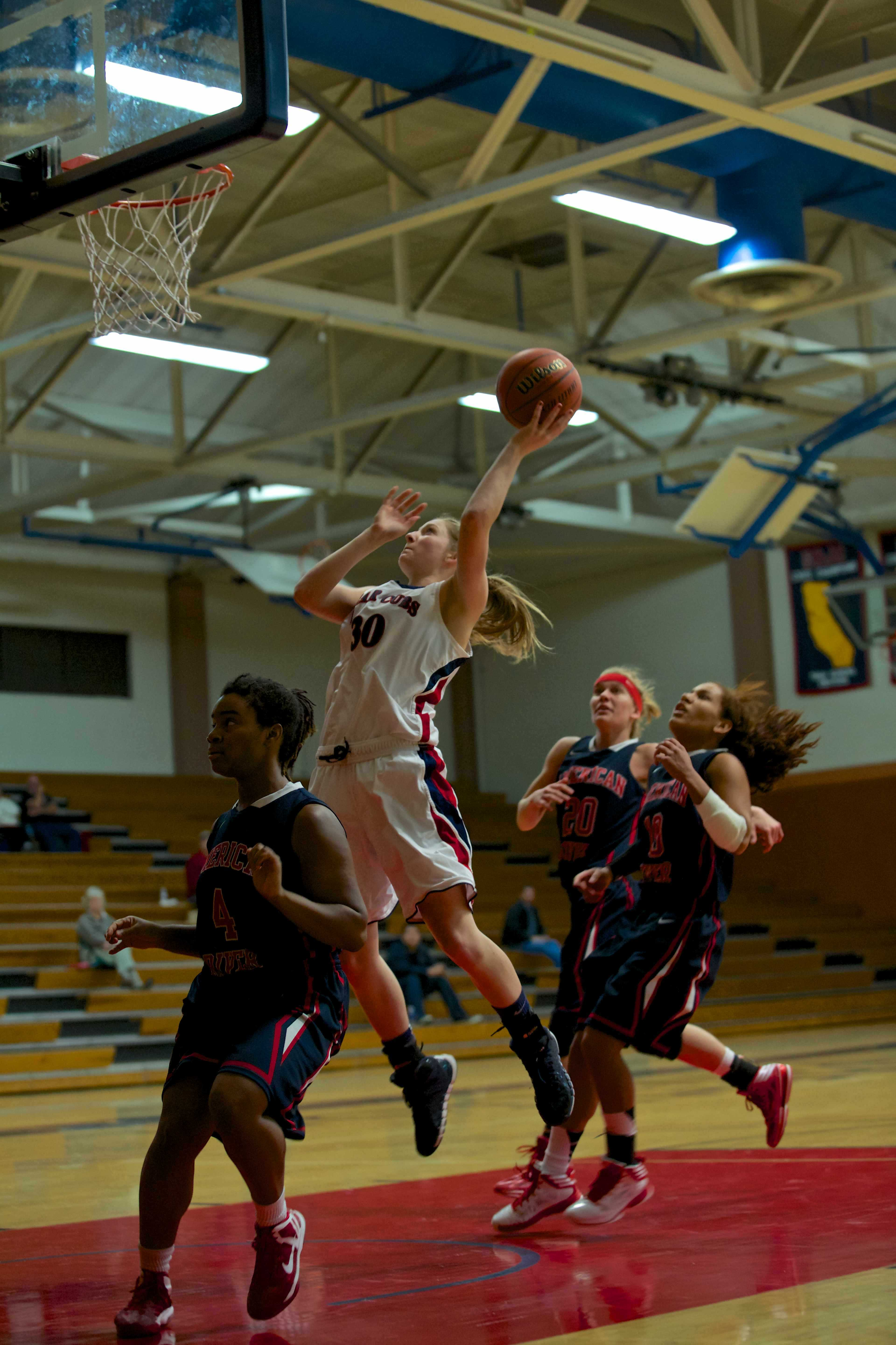 Gretchen Harrigan finishes a fast break for a basket against ARC Jan. 21 in Haehl Pavilion. The next home game is Jan. 31.