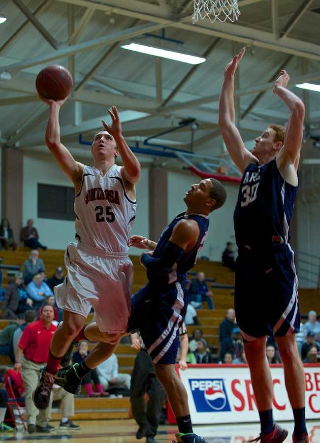 Kai Drewry goes up for a not-so-routine layup against ARC Jan. 21 in Haehl Pavillion.