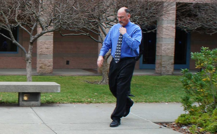Former SRJC police officer Jeffery Holzworth leaves the courtroom after Det. Azzounis testimony Feb. 5.