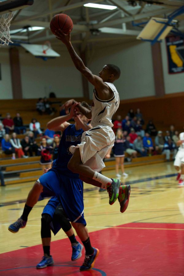 Santa Rosa Junior College guard Davone Oliver springs for a layup in a Jan. 31 game against Modesto Community College. The Bear Cubs won, 94-70.