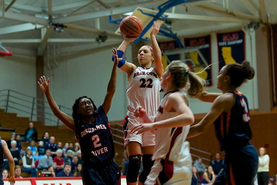 Madison Sowards, SRJC's leading 3-point scorer, sinks an easy jump shot from near the top of the key against Cosumnes River College Feb.21 at Haehl Gym Santa Rosa.