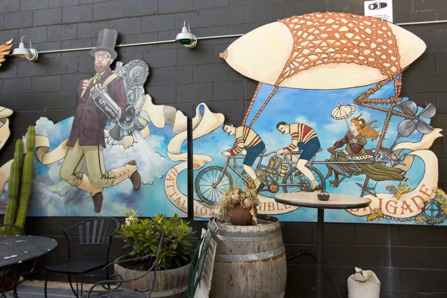 Atlas Coffee, SOFA residents' favorite local, features a steampunk mural.