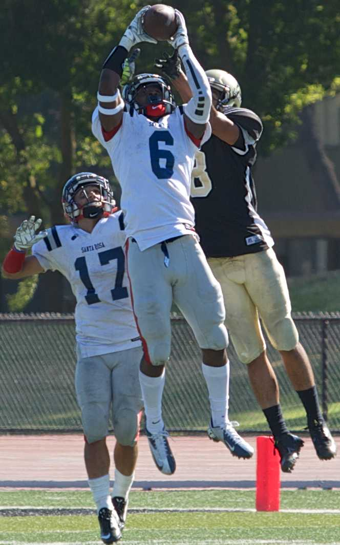 Quinten McCoy intercepts the end of the game hail-mary, putting an end to Delta's hopes of catching the Bear Cubs in their season opener Saturday, Sept. 6 at Delta Communtiy College in Stockton.