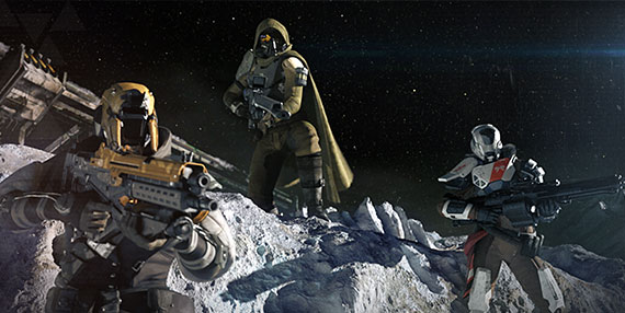 From left: Titan, Hunter and Warlock Guardians posing on the moon.