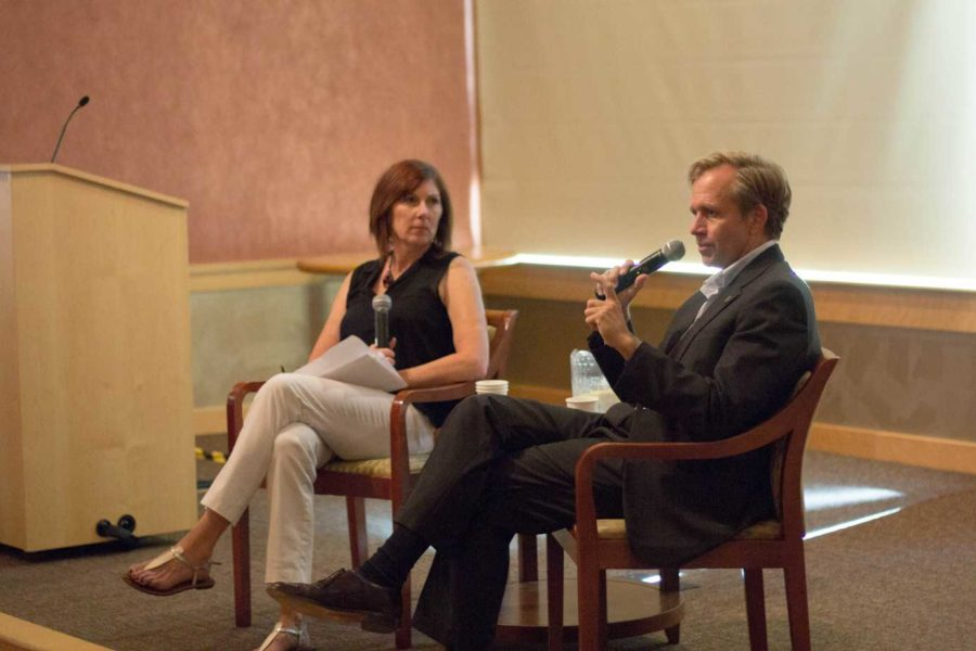 """SRJC political science instructor Jeanette Ben Farhat moderates the Q-and-A with U.S. Ambassador Lewis Lukens during """"Passport to the World"""" hosted by the International Students Club noon Sept. 15 in the SRJC Bertolini Student Center."""