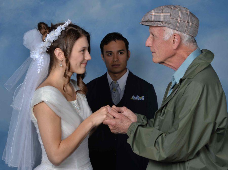 Rita (Peyton Victoria) switches bodies with an old man (Ron Smith) to the dismay of  husband Peter (Kot Takahashi).