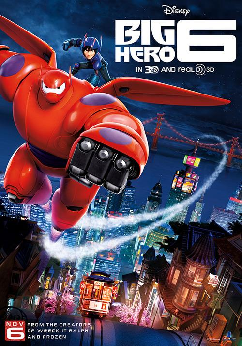 Baymax and Hiro flying over the streets of San Fransokyo in Big Hero 6.