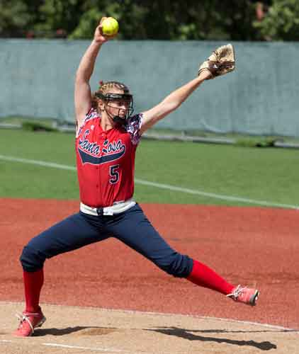 Dana Thomsen delivers strikes for five innings of shut-out softball against Diablo Valley College on Sophmore Day Tuesday April 22 at SRJCs Marv Mays Field.