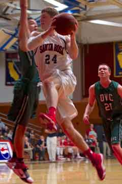 Parker Farris looks to make contact on a layup against Diablo Valley College Jan. 23 at Haehl Pavilion.
