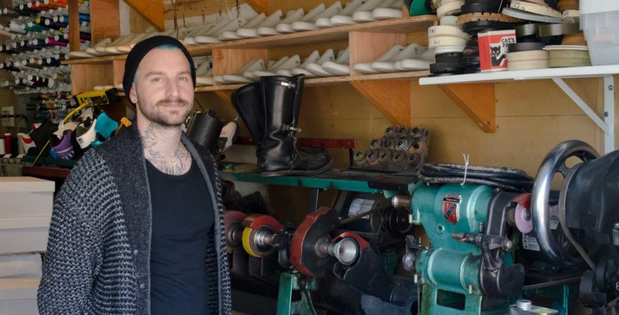 Dominic Chambrone, The Shoe Suregon, at his Santa Rosa studio where he designs unique footwear for celebrities like Will.i.am and Justin Bieber. Chambrone is a former SRJC student.