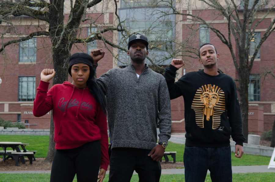From Left to Right: Darika Ramsey, Damion Square and Elias Hinit standing proud in the Doyle quad at SRJC.