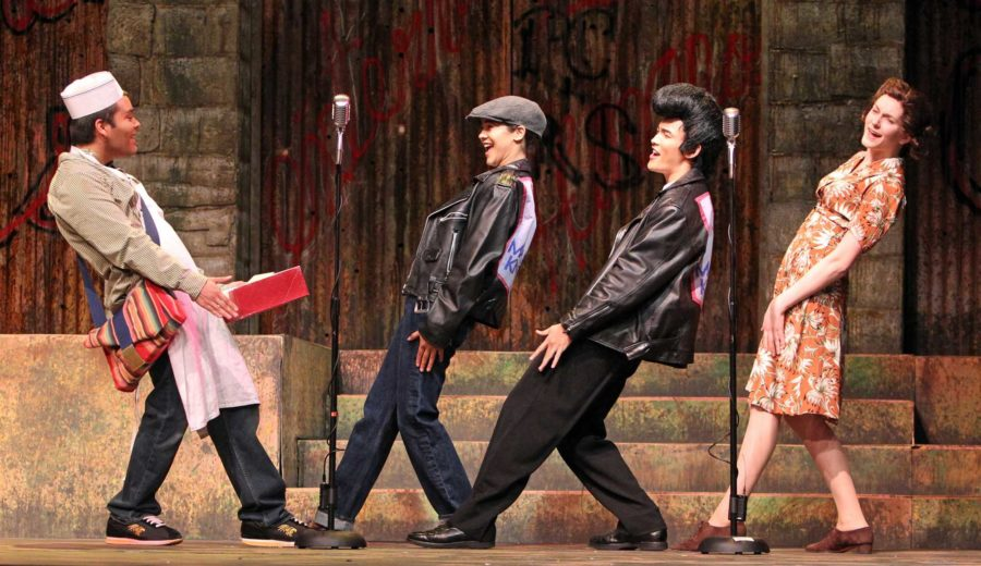 Marcos Rivas Sanchez, Raina Pope, Cooper Bennett and Allegra ORourke perform in American Night: The Ballad of Juan José, currently playing at Burbank Auditorium at SRJC. The actors perform in multiple roles during the play.