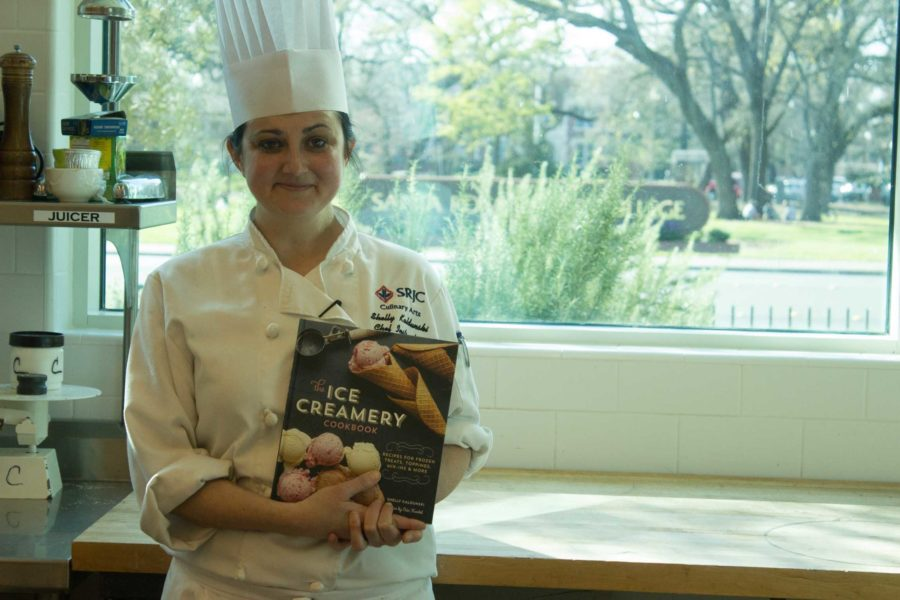Kaldunski holds her book The Ice Creamery at the SRJC culinary center, where shes been a faculty member for three years.