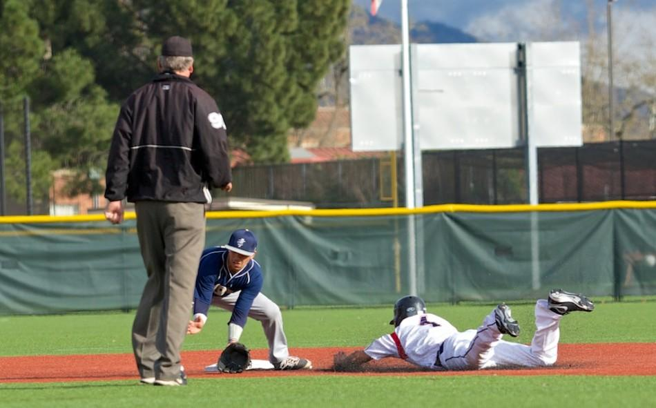 Matt LoCoco steals second base, a second time, against Yuba City College March 4 at Sypher Field Santa Rosa.