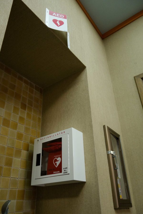An automated external defibrillator outside the box office in Burbank Auditorium at Santa Rosa Junior College is available for emergency use, as are nine other units placed throughout the Santa Rosa campus.