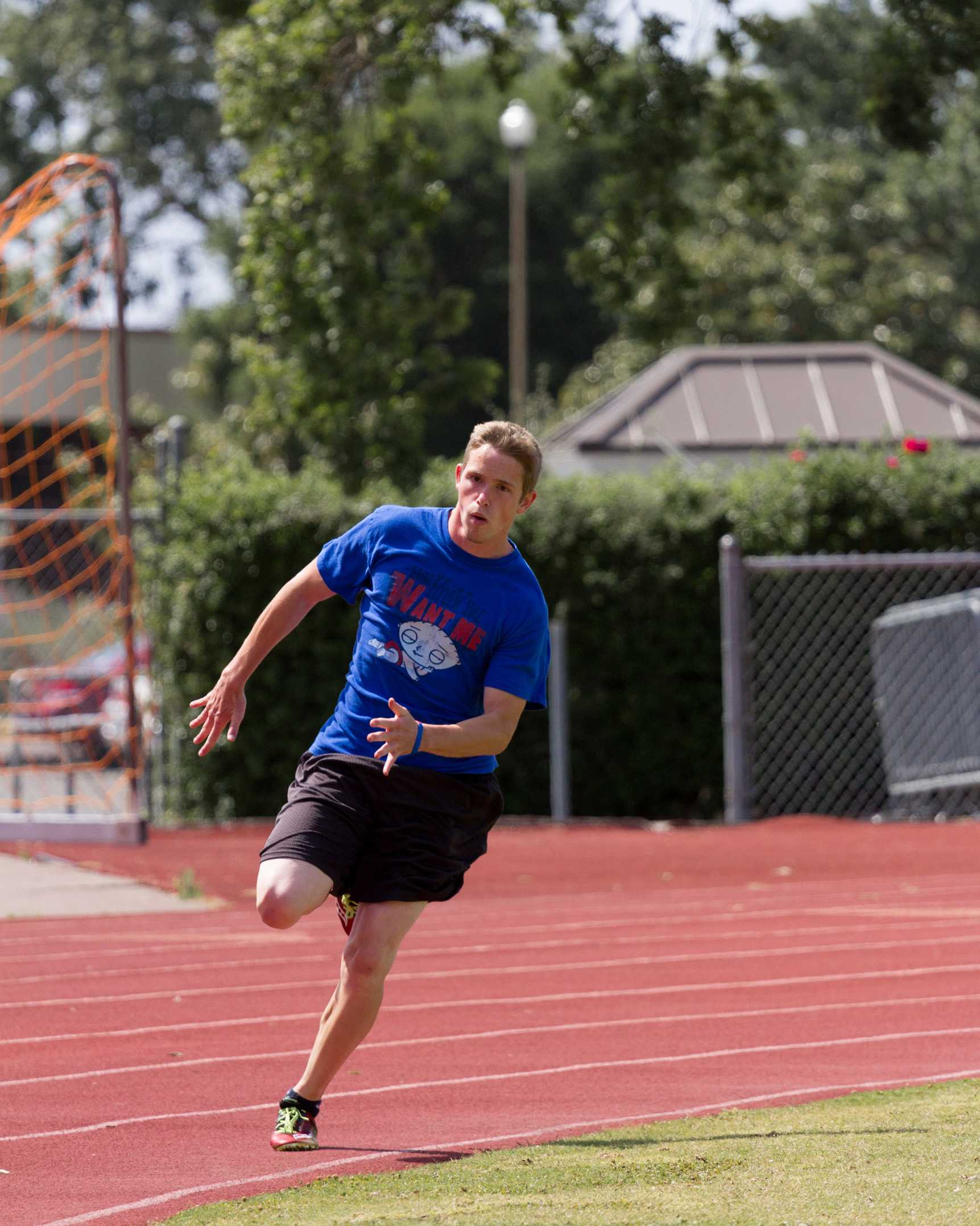 SRJC runner Kyle Vannetti practices for the Conference Finals April 23. He will be competing in the 200 meter and 4x100.