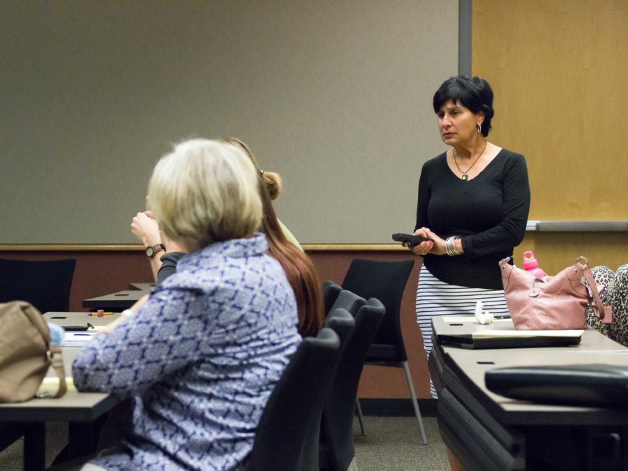 Santa Rosa Junior College psychology professor Narmeen Nasseem gives a lecture on feminism and patriarchy in Islam.