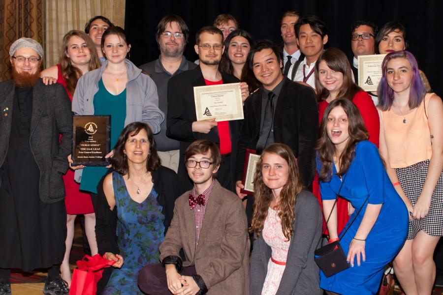 The SRJC Oak Leaf newspaper staff presenting their awards at the JACC annual conference in Sacramento after the awards banquet dinner April 12.