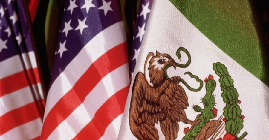 A combination of Mexican and American flags representing Mexican-American students.