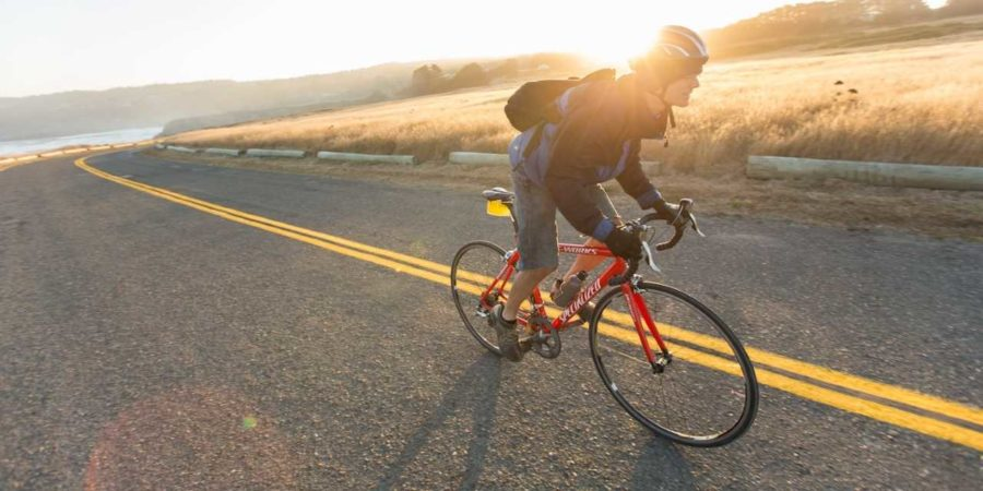 Bike riders utilize access to California's highways for transportation and exercise in an eco-friendly fashion.