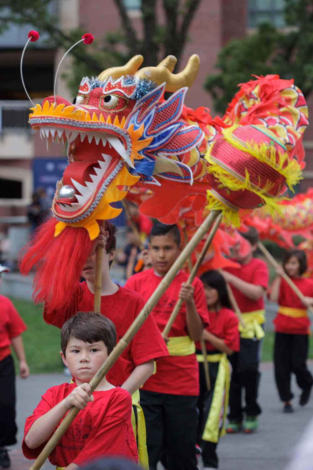 The Redwood Empire Chinese Association Traditional Lion Parade marches.