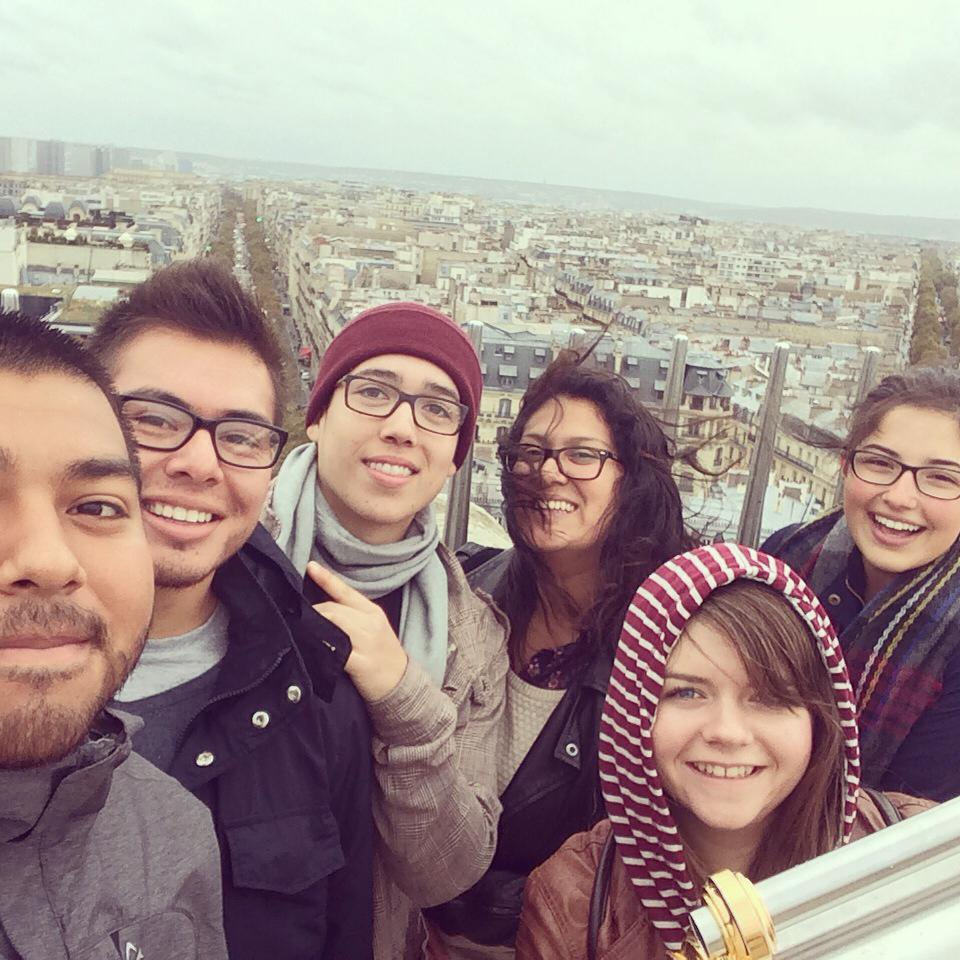 Eduardo Arango and other students on top of the Arc de Triomphe in Paris, France from last semester's study abroad trip.