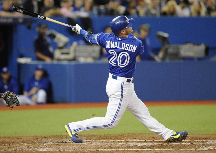 Josh Donaldson of the Toronto Blue Jays follows through on a swing.