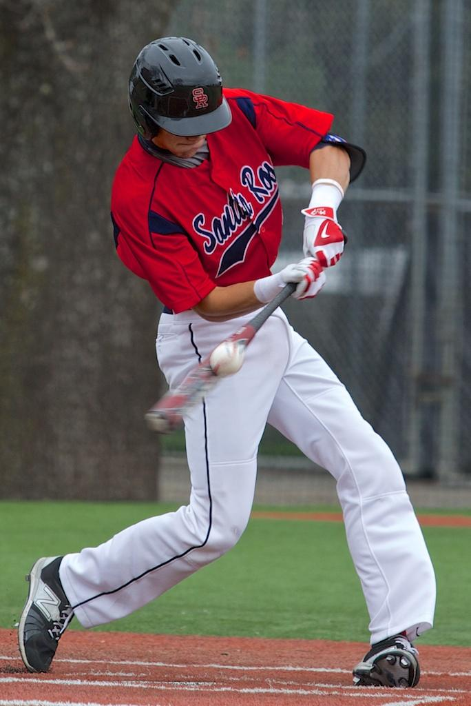 Ryan Haug takes a swing during a game in Spring 2015