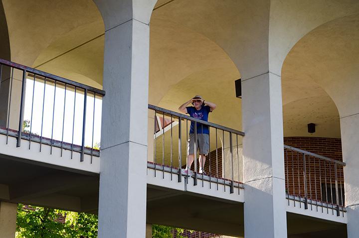 Writer+Rita+Losch+examines+the+convolution+of+the+Santa+Rosa+Junior+College+campus+from+above.