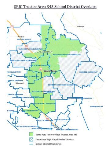 Map of SRJC district areas. Photo courtesy of Sonoma Gazette.