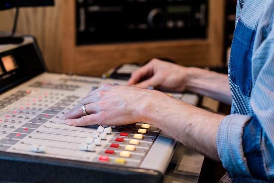 Dano, a former SRJC student, says his past playing piano helps with working the soundboard.