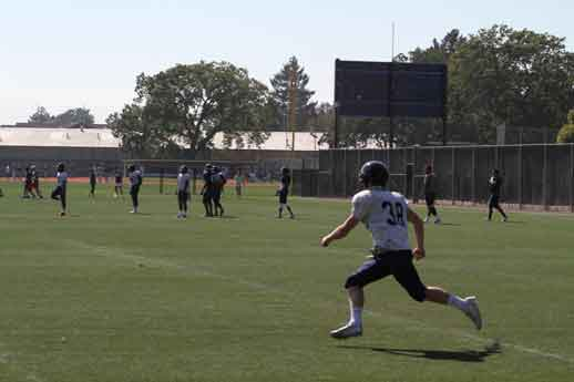 Bear Cubs wide receiver Ben Putnam leads the wide outs during  during a recent workout at Santa Rosa Junior College's.