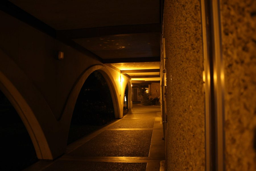 A burnt out light in Baker Hall is one of several on campus that needs maintenance attention.