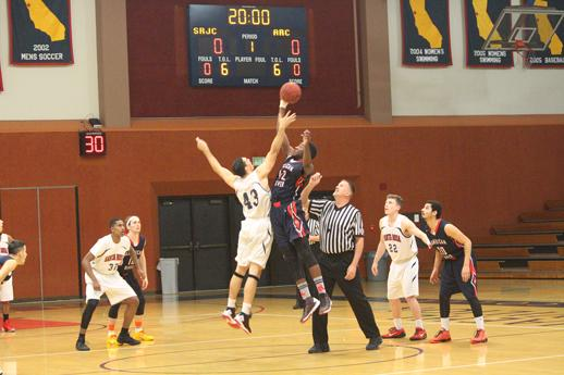 Santa Rosa Junior College sophormore center Arnold Silva wins the tipoff against American River College Jan. 29 en route to a 93-71 Bears Cubs victory at SRJC's Haehl Pavillion.