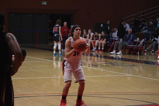 Bears Cubs sophomore point guard Kerianne Noonan attempts the free throw against American River College Jan. 29 in a nail-biting victory at SRJC's Haehl Pavillion.