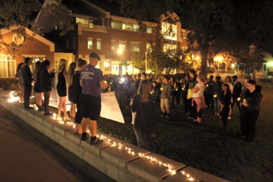 SRJC students congregate on Bertolini quad for Take Back the Night in fall 2015.