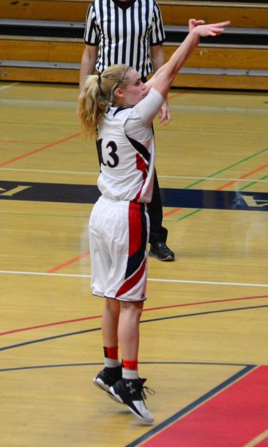 Sophomore guard Jenna Dunbar attempts a free throw in a game against West Hills College Lemoore.