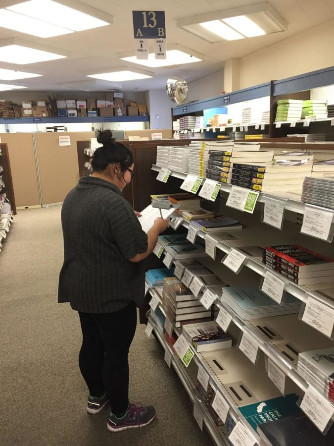 SRJC student navigates high textbook prices at the SRJC bookstore.