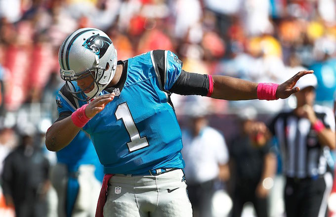 Panthers%27+quarterback+Cam+Newton+dabbing.+Many+people+are+criticized+Cam+for+his+celebration+antics+in+the+2015-16+season.++